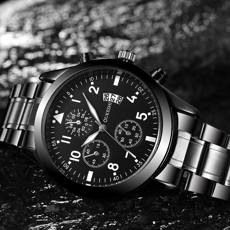 Часы мужские 2020 новые стильные мужские часы стальной ремешок водонепроницаемые стильные деловые кварцевые часы мужские парные подарки