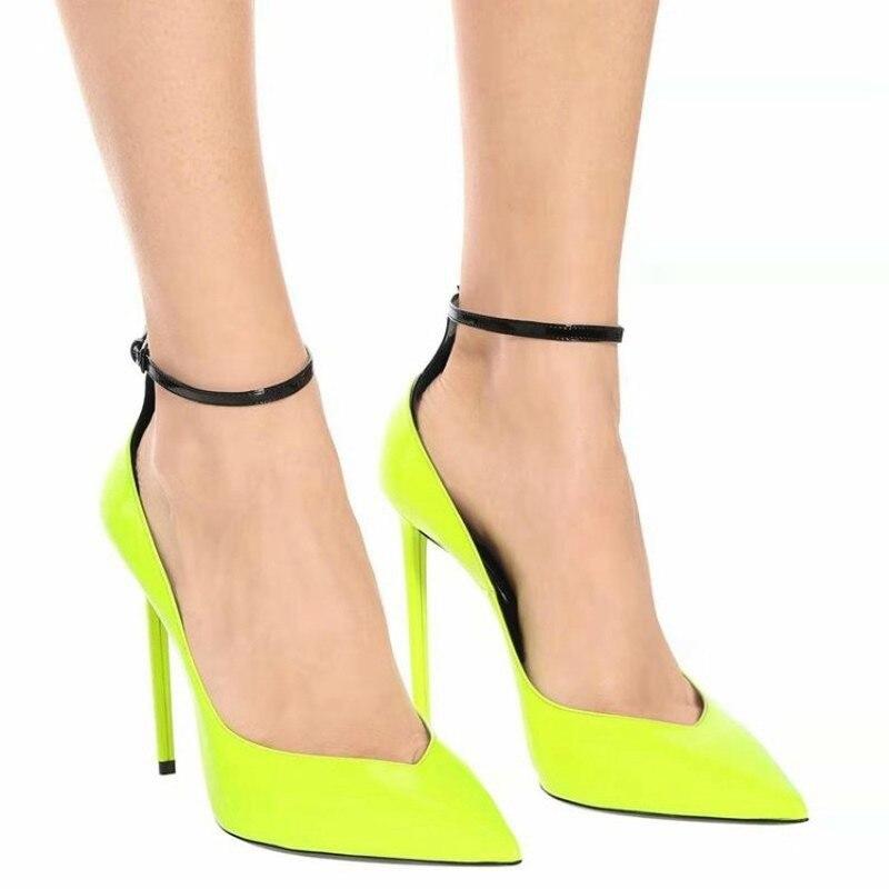 US4-11 para puntiagudo dedo del pie de cuero de patente lemon amarillo tacones de aguja bombas tobillo hebilla de cinturón OL zapatos de fiesta Sexy de talla grande