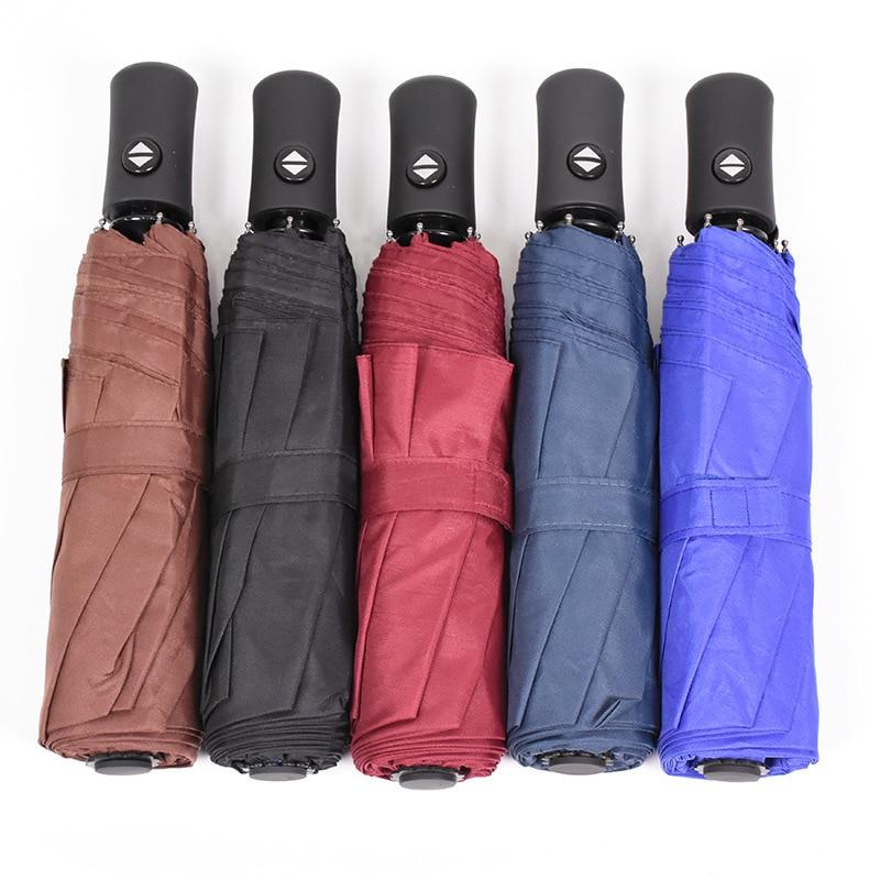 Paraguas Plegable de lujo para hombre y mujer, sombrilla compacta totalmente automática...