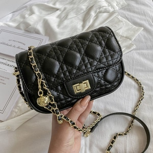 Small Quilted Shoulder Bags for Women New 2021 Leather Quality Designer Gold Chain Pu Crossbody Bag Ladies Luxury Brand Handbags