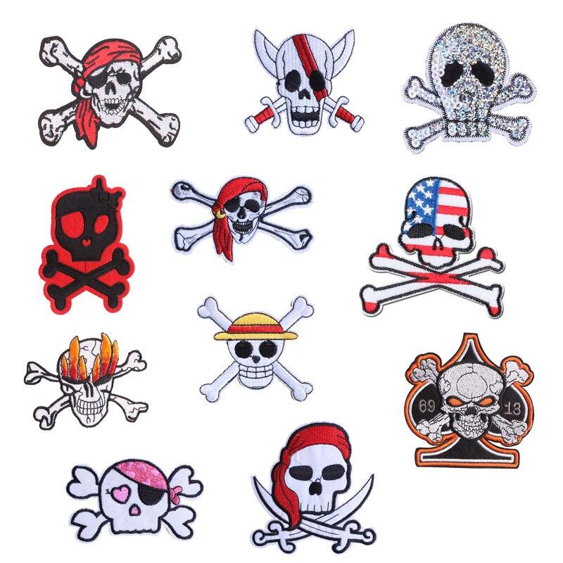 Нашивка для панк черепа одежда железо на вышитой аппликацией кости шить на эмблема на ткани DIY украшения для одежды аксессуары