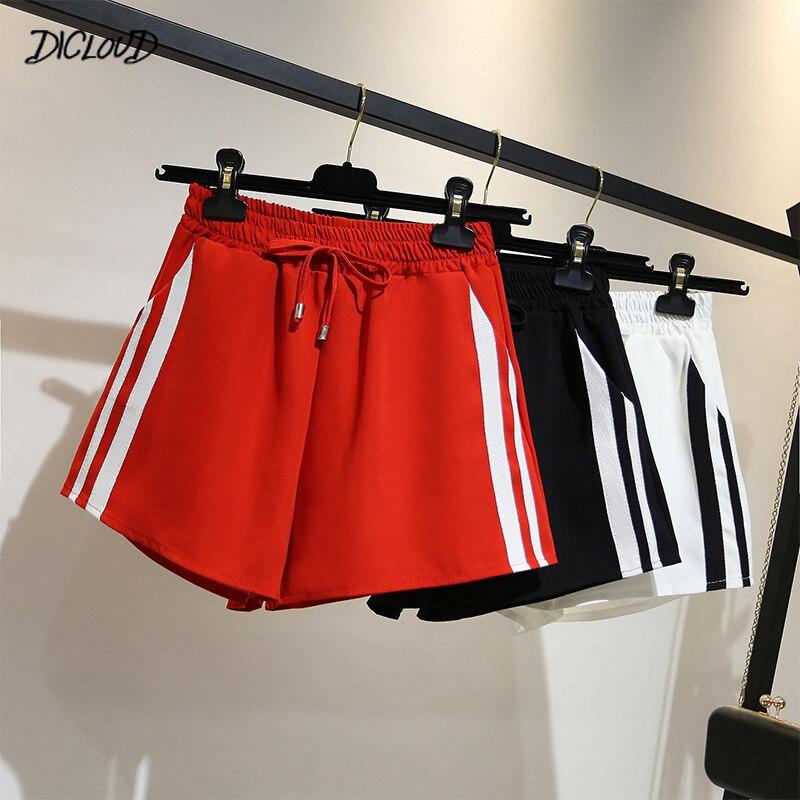 Shorts feminino casual de cintura alta, calção feminina folgada, casual de rua harajuku, roupas curtas para mulheres