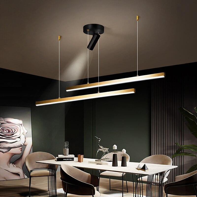 الشمال الذهب خط LED الثريا تصميم الحد الأدنى لغرفة المعيشة غرفة الطعام غرفة نوم المطبخ الفن الجدار تركيبات إضاءة تعليق
