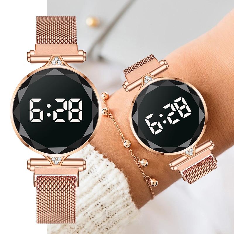 AliExpress - Luxury LED Watch Women Magnetic Bracelet Watches Rose Gold Digital Dress Quartz Women's Watches Ladies Clock Relogio Feminino