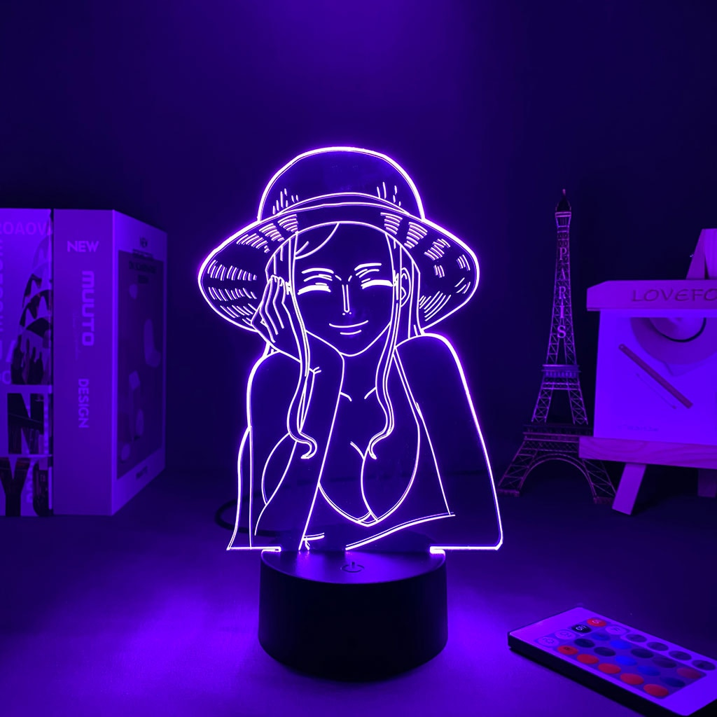 kaima 3 4persons one bedroom 3d Lamp Anime One Pieced Nico Robin Led Night Light for Kids Bedroom Decor Japanese Anime Gift