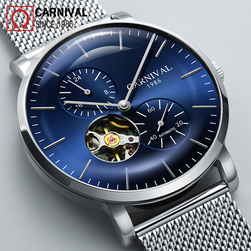 Carnival Brand Fashion Watch Man Waterproof Luxury Hollow Casual Sapphire Automatic Mechanical Wristwatch 2021 Relogio Masculino enlarge