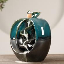 Handicraft Incense Holder Apple Pear Shaped Backflow Incense Burner Waterfall Censer Holder Home Decor with 20pcs Incense Cones
