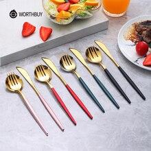 WORTHBUY Ensemble de couverts en or coloré vaisselle en acier inoxydable ensemble dargenterie couteau cuillère fourchette dîner ensemble vaisselle de cuisine