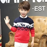 boys christmas sweaters 2020 winter elk print kids boy clothes long sleeve double layers knit warm cotton children sweaters 3 9y