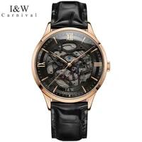 carnival luxury brand rose gold automatic watch man fashion waterproof sapphire skeleton mechanical wristwatch relogio masculino