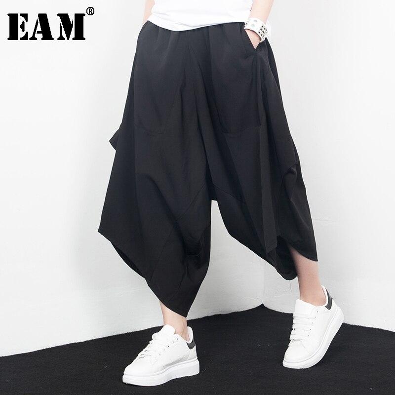 [EAM]  2020 New Spring High Waist Solid Color Black Irregular Pocket Loose Wide Leg Pants Women Trousers Fashion  J67201