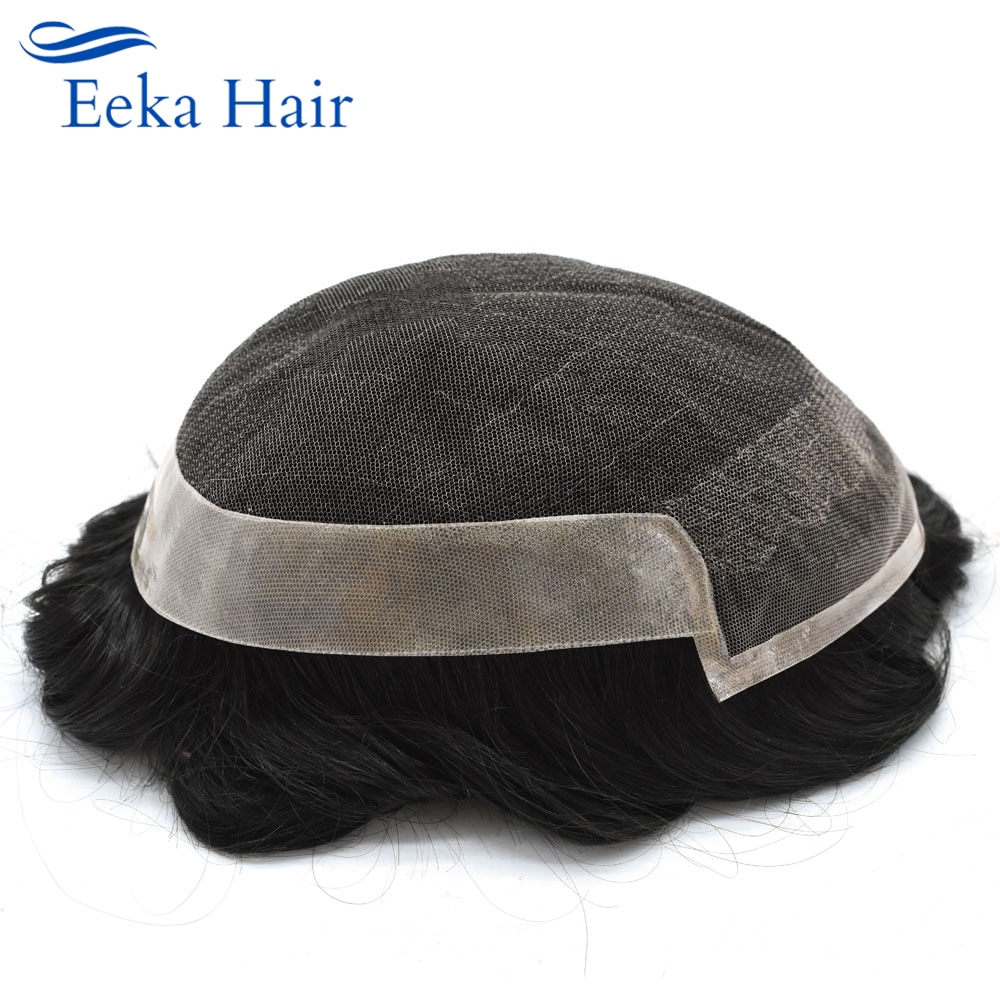 Human Hair Mens Toupee Durable Super Thin Lace Front Skin Hair System Poly PU Black-Brown-Blonde-Gray Hairpiece Replacement