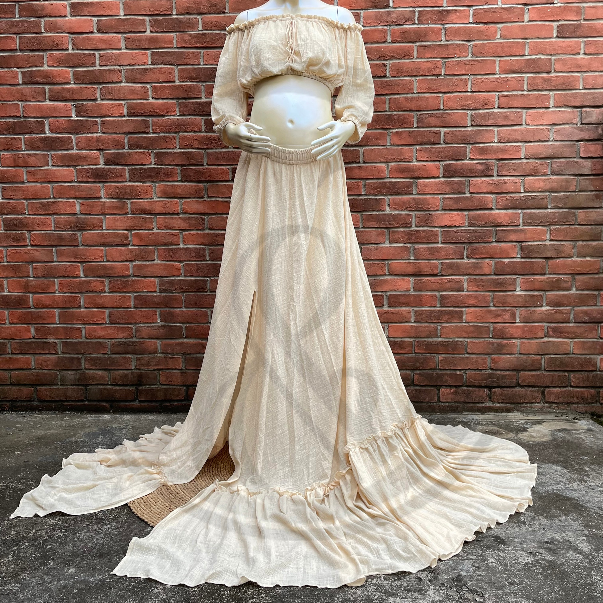 Photo Shoot Props A Suit Cotton Kaftan Full Sleeves Robe Maternity Dress Evening Party Costume for Women Photography Accessories