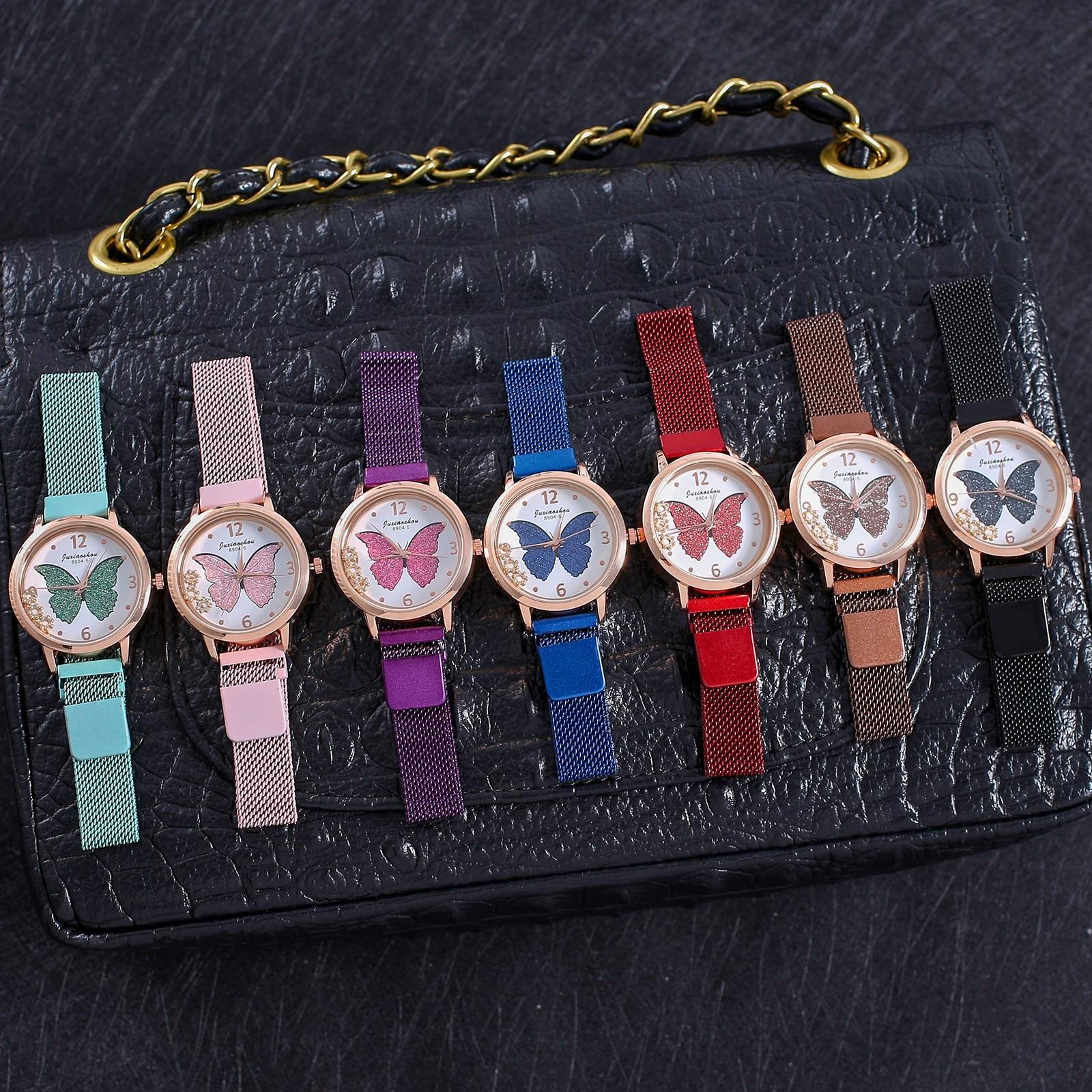 Butterfly Print Watch for Woman montre femme Analog Quartz Wrist Watch Party Dress Bracelet Clock re