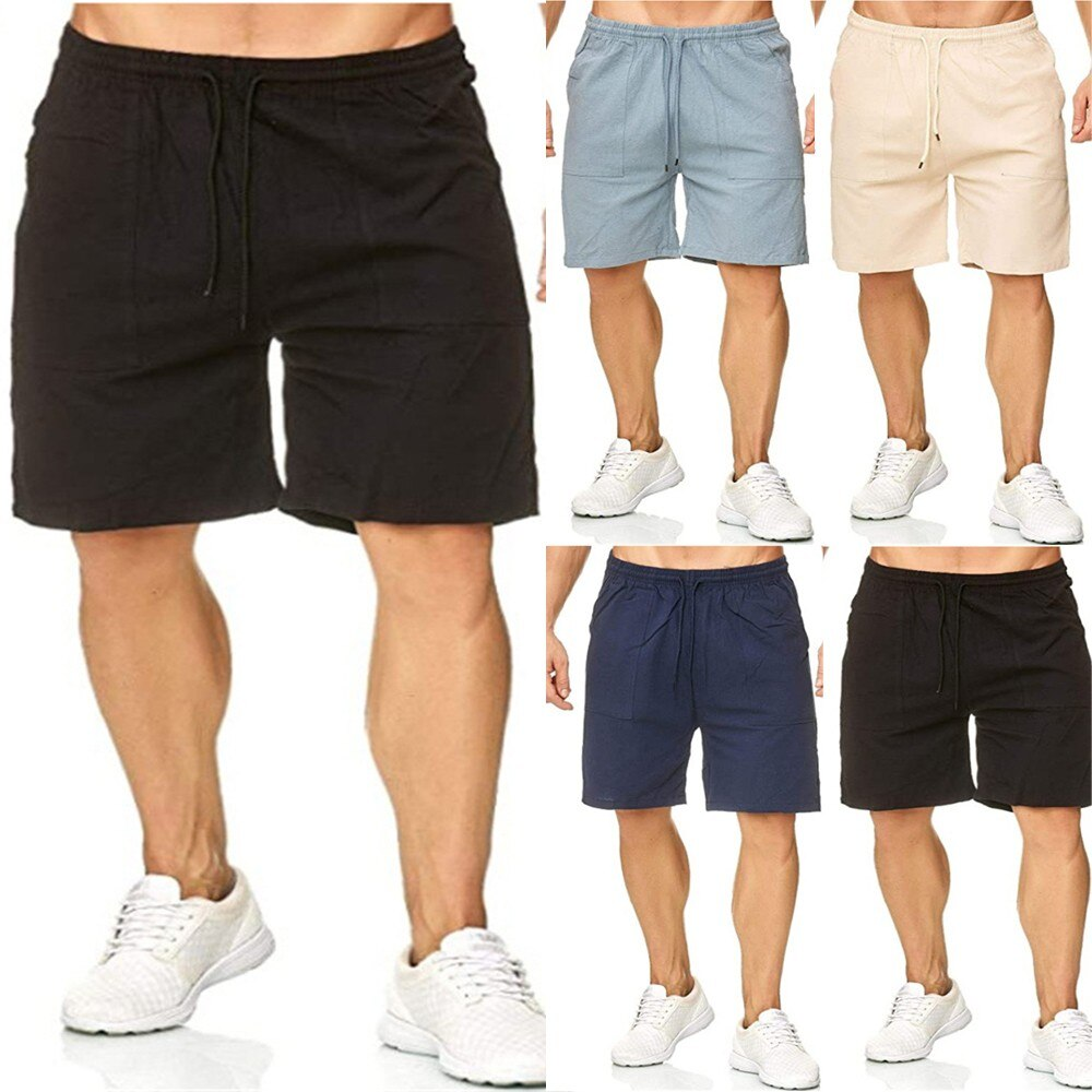 Summer New Style Men's Casual Sports Cotton And Linen Comfortable Fashion Casual Shorts Jogging Pants