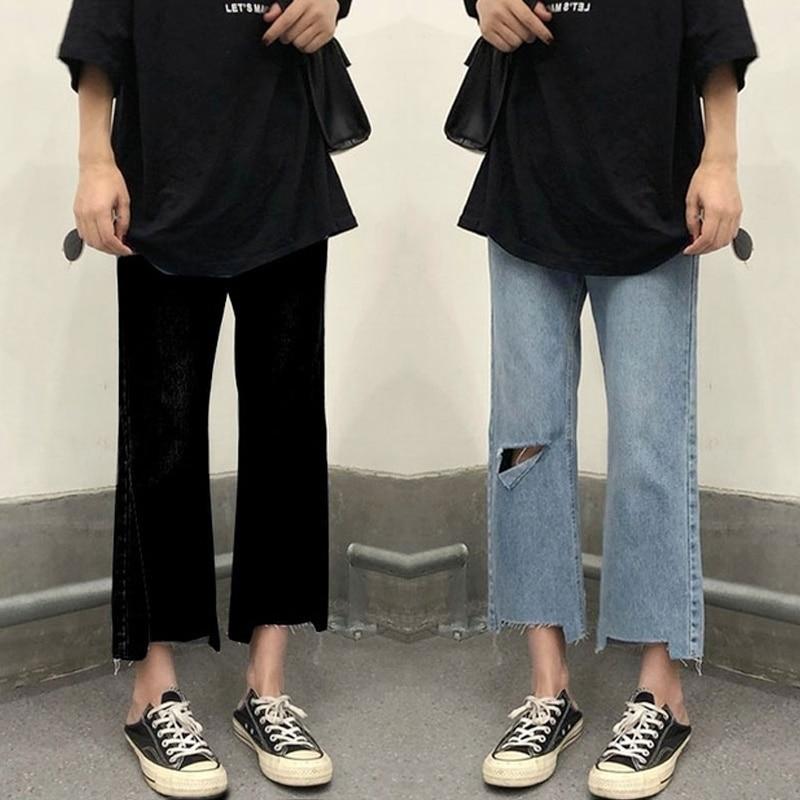 Denim Pants  Women Spring And Autumn High Waist Wide Leg Capris 2021 New Fat Mm Slim Straight Pants