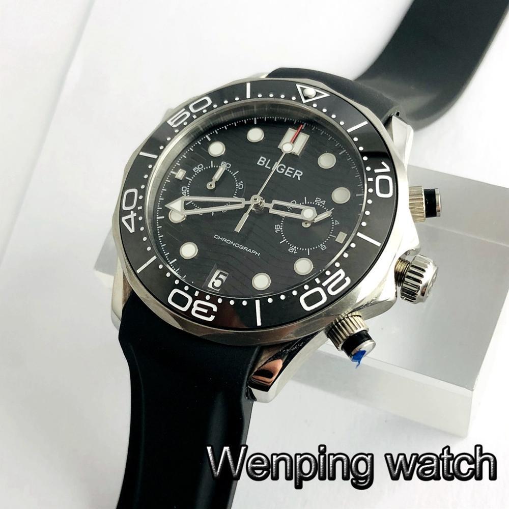 Bliger new 41mm sapphire crystal ceramic bezel black dial date rubber strap chronograph quartz mens top luxury watch