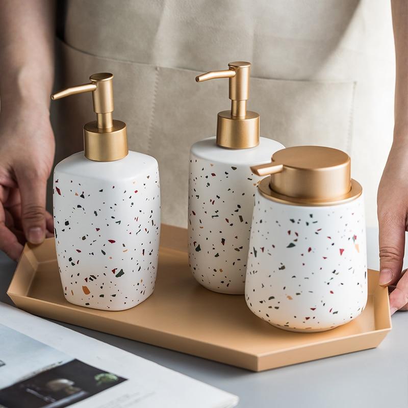 Nanjibao Bathroom Set Ceramic Hand Sanitizer Bottled Terrazzo Pattern Shower Gel Shampoo Bathroom Toilet Lotion Bottle Set enlarge