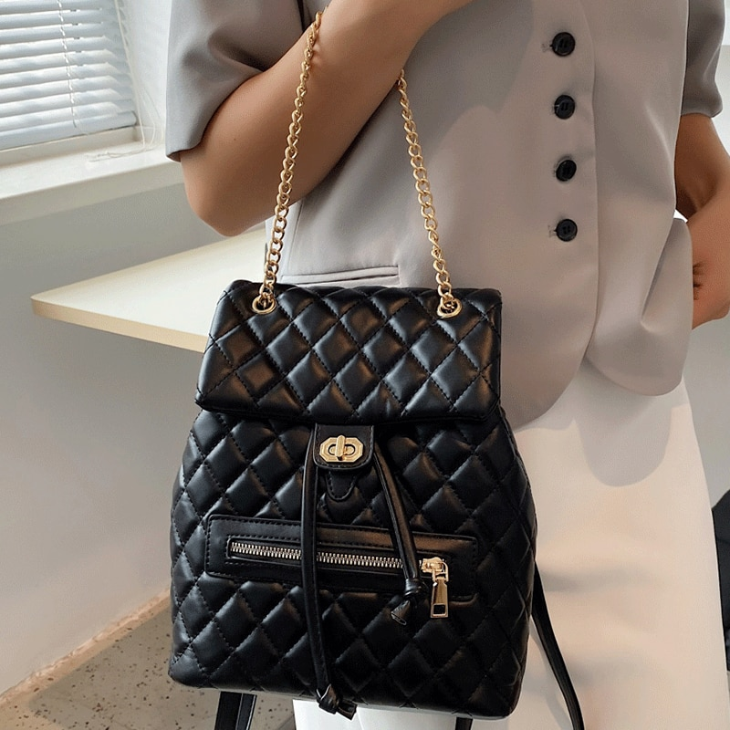 Роскошные Брендовые женские рюкзаки для подростков, школьные ранцы для девочек, однотонный сетчатый женский рюкзак, дорожная сумка с цепоч...