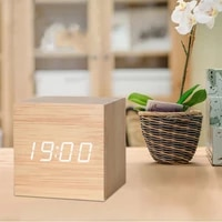 creative multifunctional digital led wood electronic clock small alarm clock voice activated smart home date temperature clock