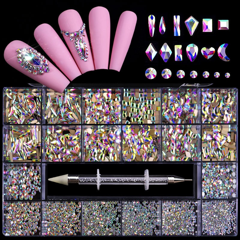 21 Grid Boxed Flat Glass Special-shaped Diamond DIY Rhinestone Jewelry Set Nail Art Manicure Decoration Accessories