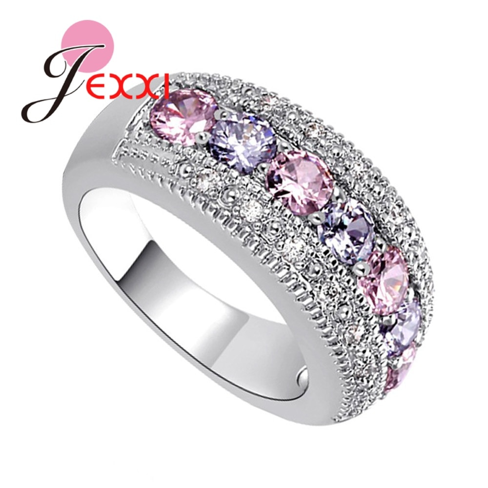Elegant Genuine 925 Sterling Silver Wedding Rings Colorful Crystal Inserted In The Front Luxury Jewelry Gift For Wife/Daughter