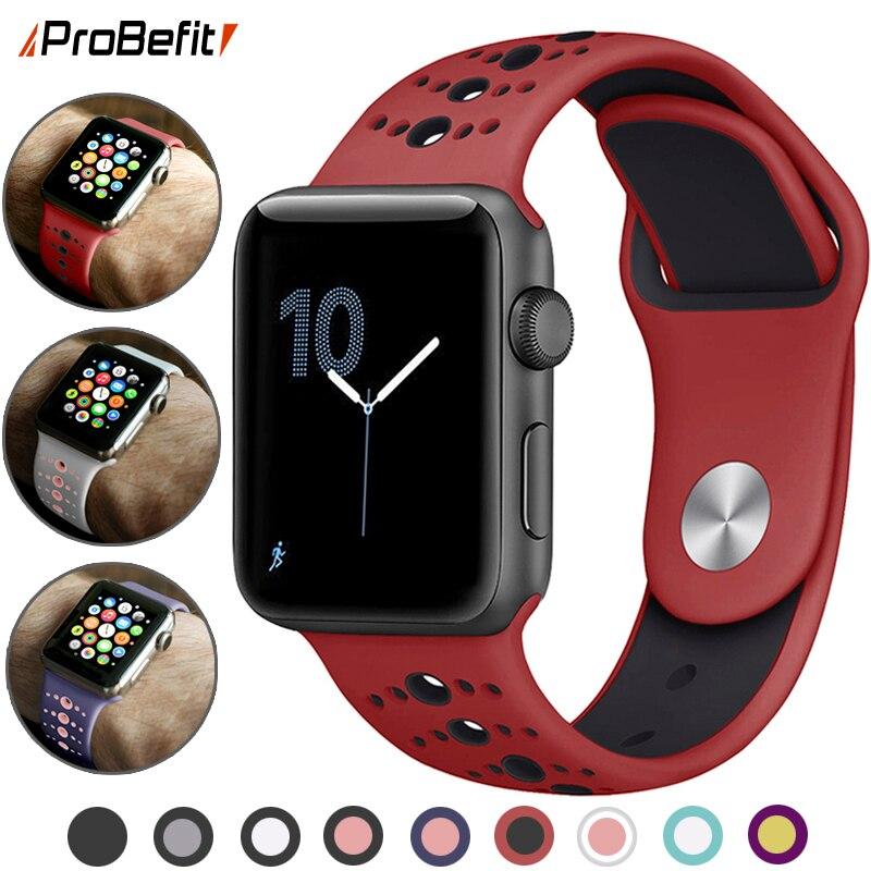 Nueva Banda deportiva de silicona transpirable para Apple Watch 5 4 3 2 1 42MM 38MM bandas de correa de goma para Iwatch 5 4 3 40mm 44mm