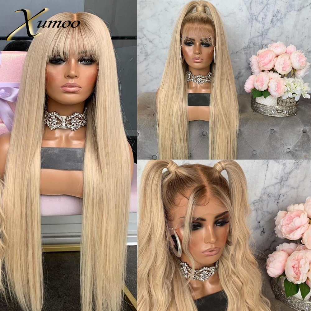 XUMOO Heat Resistant Synthetic Lace Front Wig Glueless Long Ombre Blonde With Dark Roots Cosplay Synthetic Wigs For Black Women