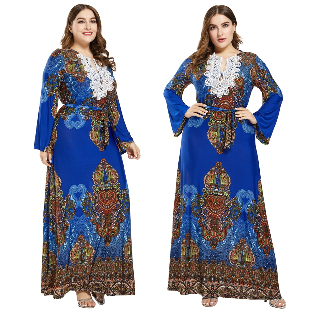 Plus Size Women Muslim Abaya Kaftan Ethnic Print Long Sleeve Maxi Party Dress Islamic Jilbab Robe Gown Arab Caftan Beach Dresses