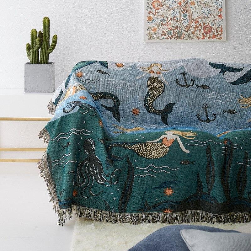 Sirena sofá toalla manta para sofá funda decorativa lanza Rectangular costura viaje manta plana