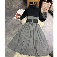 Énorme remise!!!LouLanQueen costume-robe à tricoter femmes robe dautomne robes élégantes Vintage avec ceinture de selle noeud col