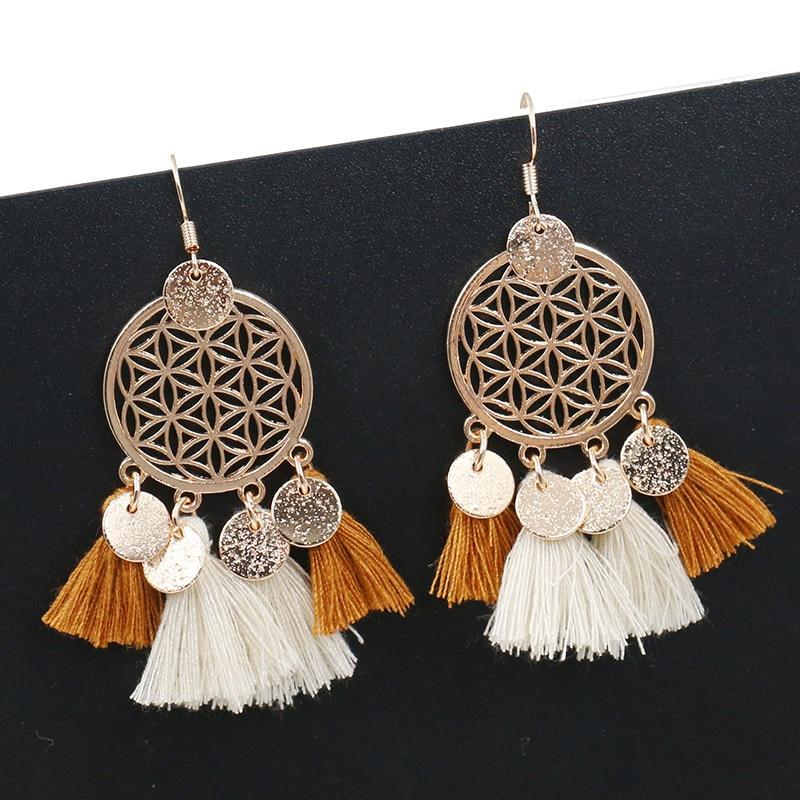Tassel Drop Earrings Women Bohemia Female Ethnic Long Big Fashion Jewelry Statement Vintage Wholesale