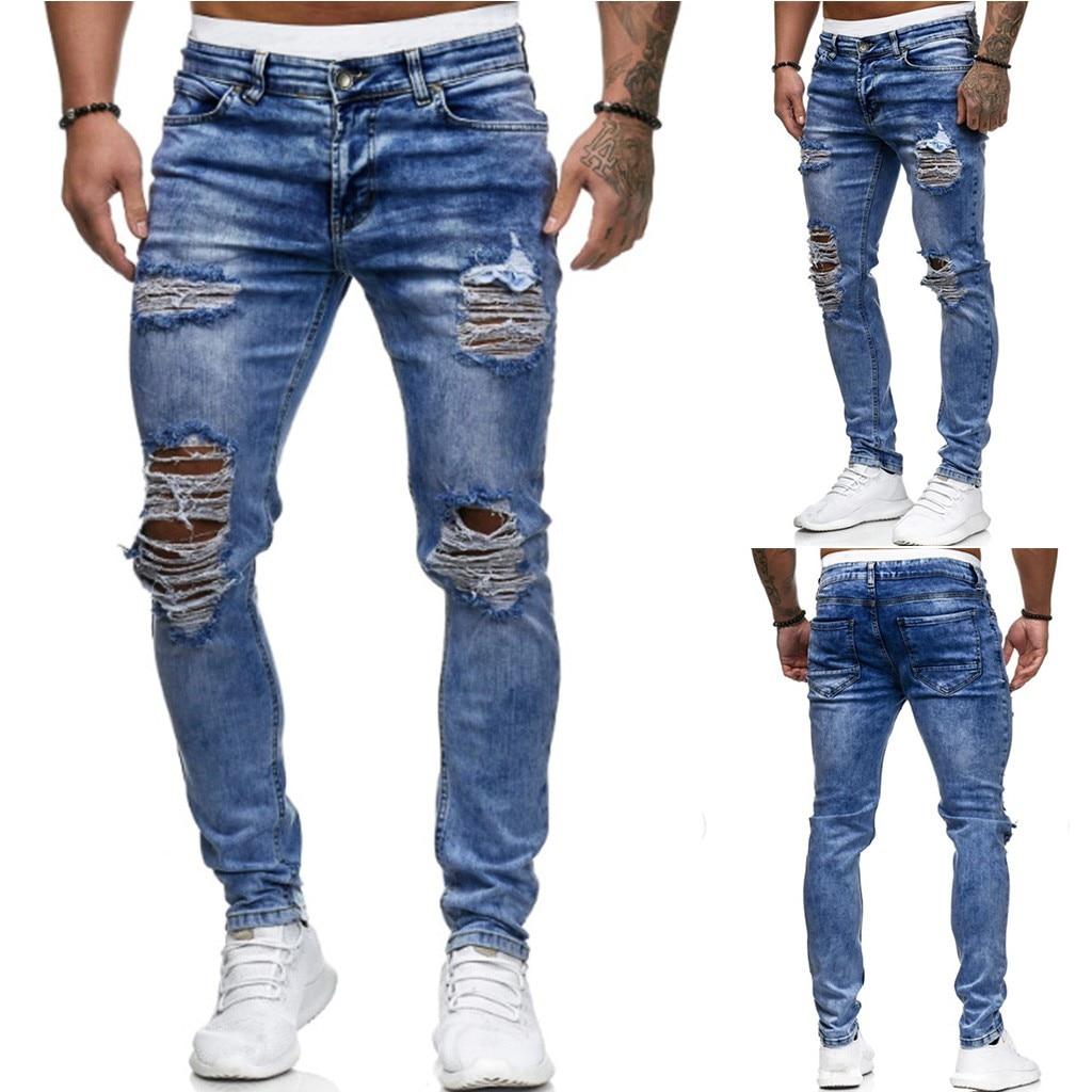 Hombre Vaqueros rasgados para hombres Casual Negro Azul ajustados pantalones de mezclilla chaqueta Hip Hop pantalones vaqueros sexy Holel Denim Pantalones nuevos