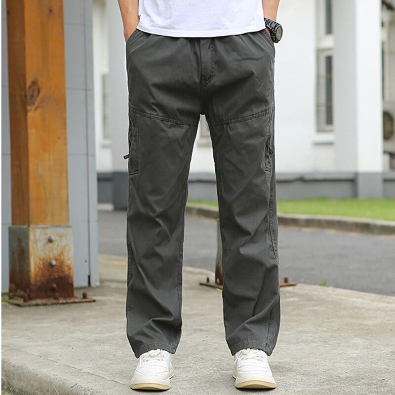 الشتاء سميكة البضائع الرجال سراويل تقليدية في الهواء الطلق كوتن بانت مستقيم برميل متعدد جيب بلون بنطلون حجم كبير M-6XL
