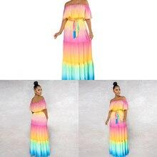 Arc-en-ciel changeant de couleur Maxi robe de soirée avec ceinture à volants épaules nues longues robes décontractées dété femmes
