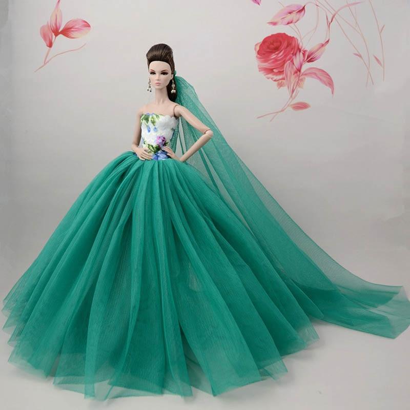 Muñeca con flor verde china, vestido para muñeca Barbie, vestido de noche de cola larga + velo 16, accesorios para muñeca, regalo