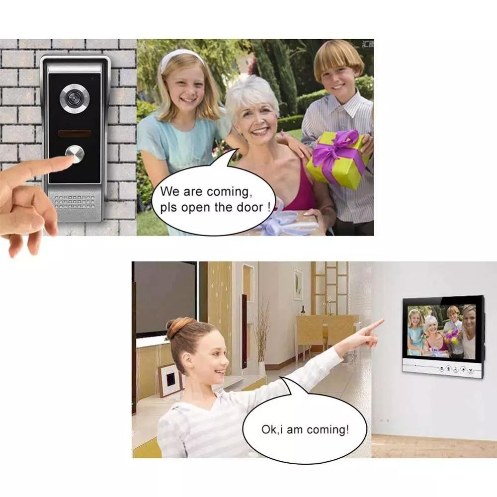 New 9 Inch Video Door Phone System Wired Video Intercom Video Doorbell Alloy IR Camera Remote Unlock 1 Doorbell with 2 Monitor enlarge