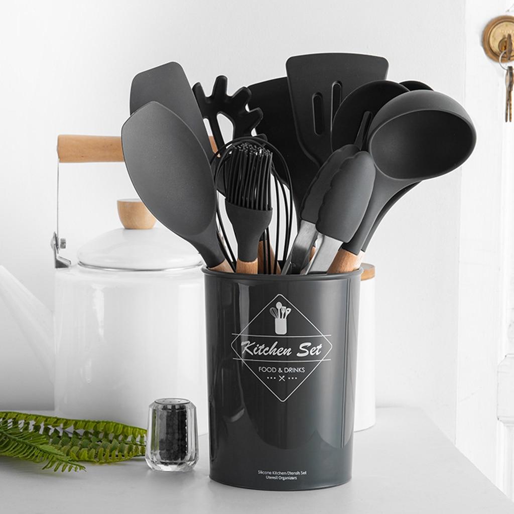 Ninguna manija de bambú tóxica herramienta de cocina antiadherente utensilios de cocina espátula de silicona cuchara de sopa resistente al calor 1 piezas