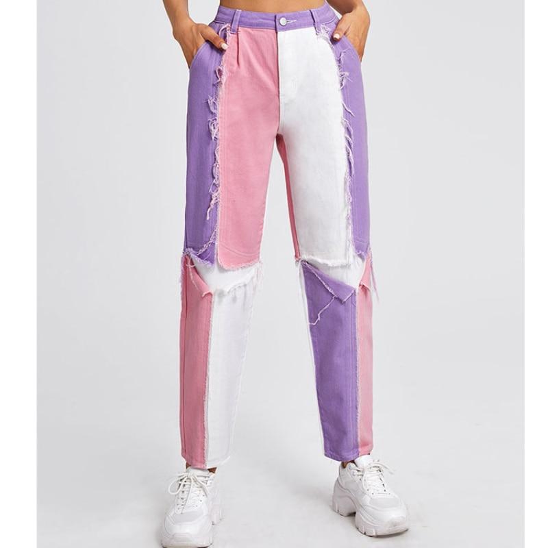 Contrast Colour Patchwork Wide Leg Women Jeans Baggy Vintage Matching Straight Leg Boyfriend Streetwear Woman Pants Jeans S-L