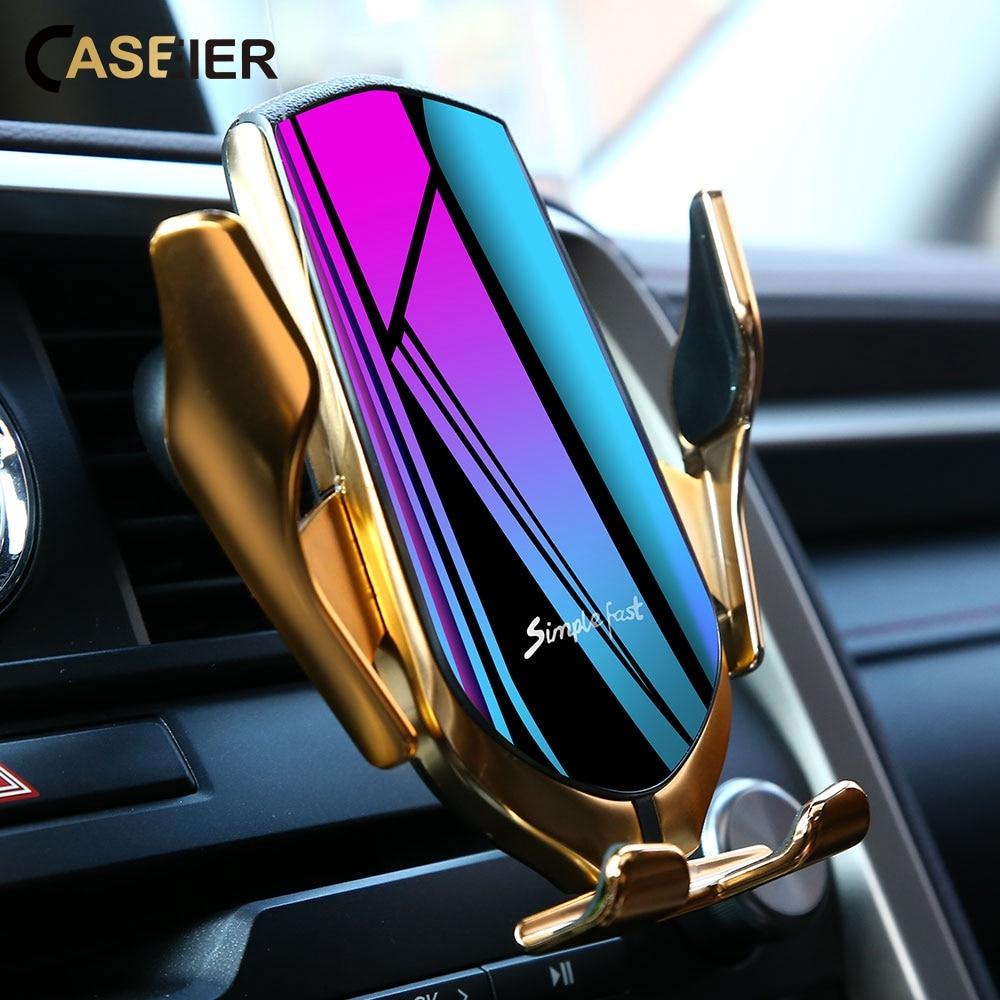Cargador inalámbrico soporte para teléfono de coche Sensor infrarrojo inteligente sujeción automática para iPhone 11 Pro Huawei soporte de montaje soporte de carga