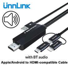 Unnlink USB-HDMI-совместимый зеркальный литой преобразователь с аудио MHL для iPhone iPad Lighting Android Phone Mi Micro USB