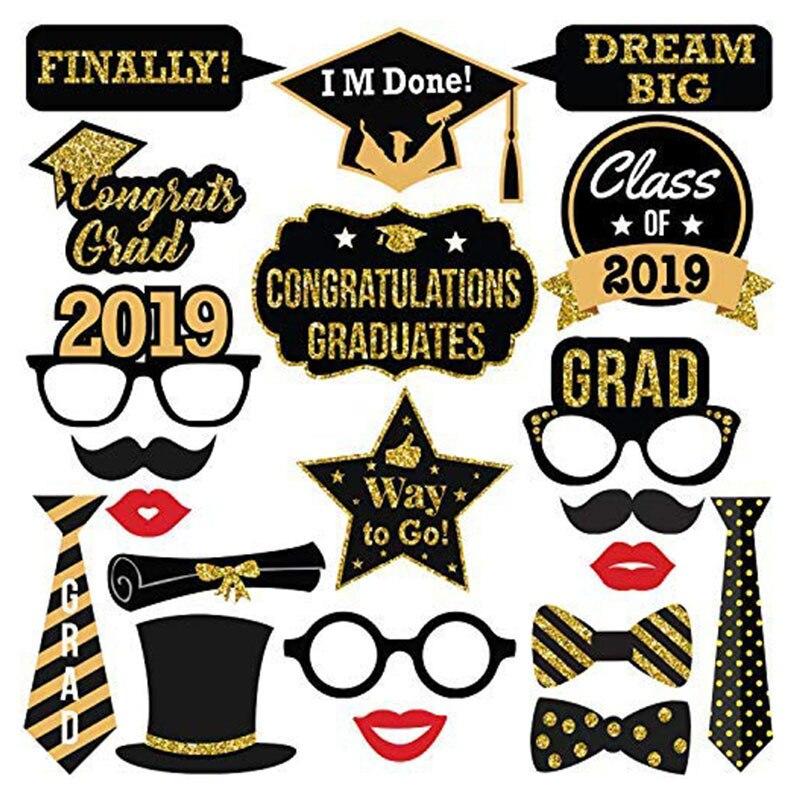 Novo 30 pçs photo booth adereços festa de formatura decoração 2019 bacharel boné grad parabéns graduado suprimentos photobooth