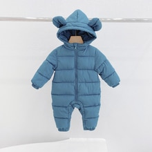 Baby One-Piece Romper Newborn Baby Boys and Girls Hooded Onesies to Keep Warm Children's Cotton Clot