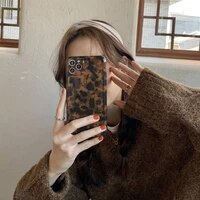 vintage amber leopard phone case for iphone 12 11 pro max x xs xr 8 plus 12mini ins popular soft imd cover gift for woman girl