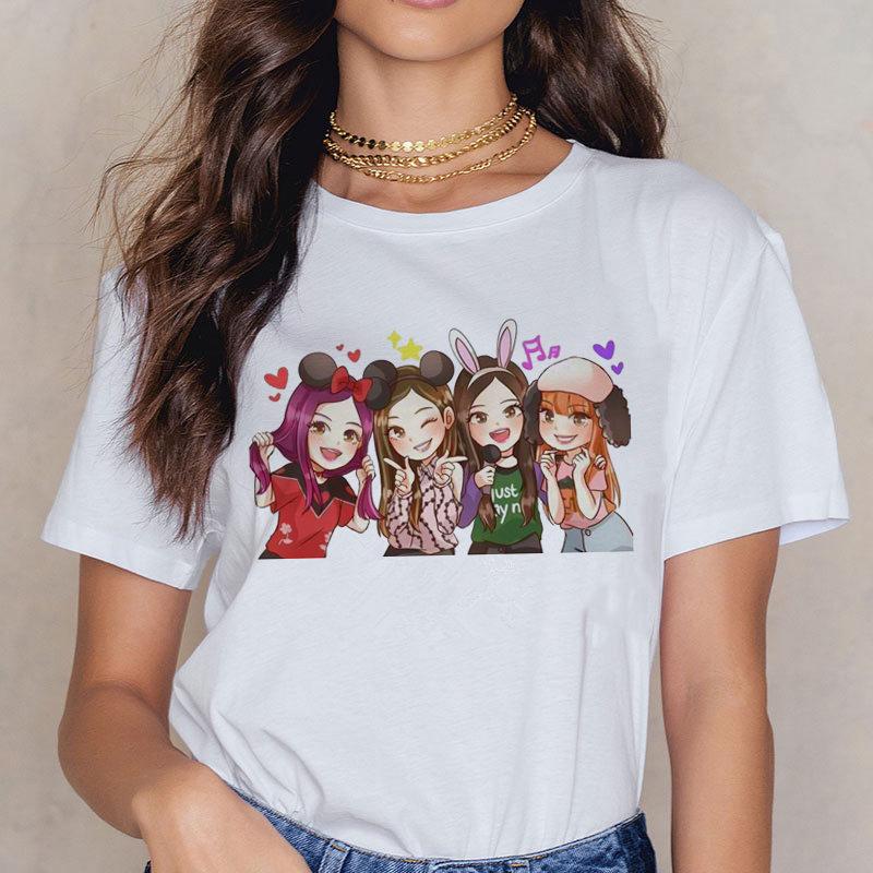 Damas Harajuku camiseta Blackpink en su área camiseta LISA Rosa JISOO JENNIE camiseta Ulzzang verano matar a este amor Harajuku T-s