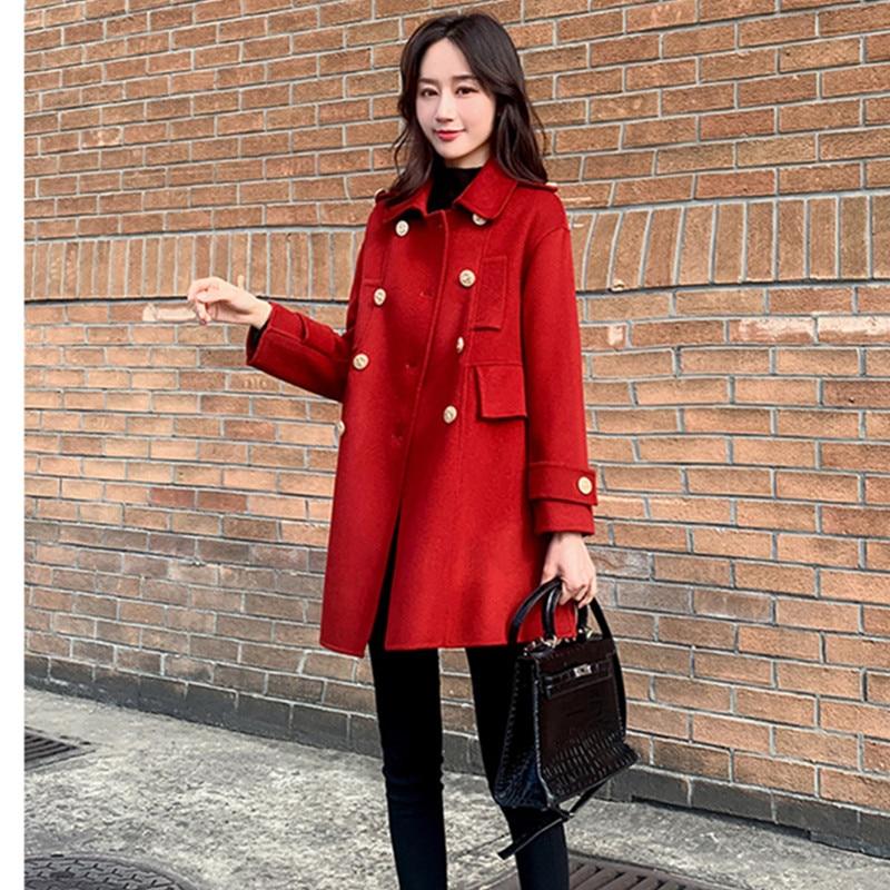 Abrigo de lana de talla grande para mujer, ropa de abrigo de...
