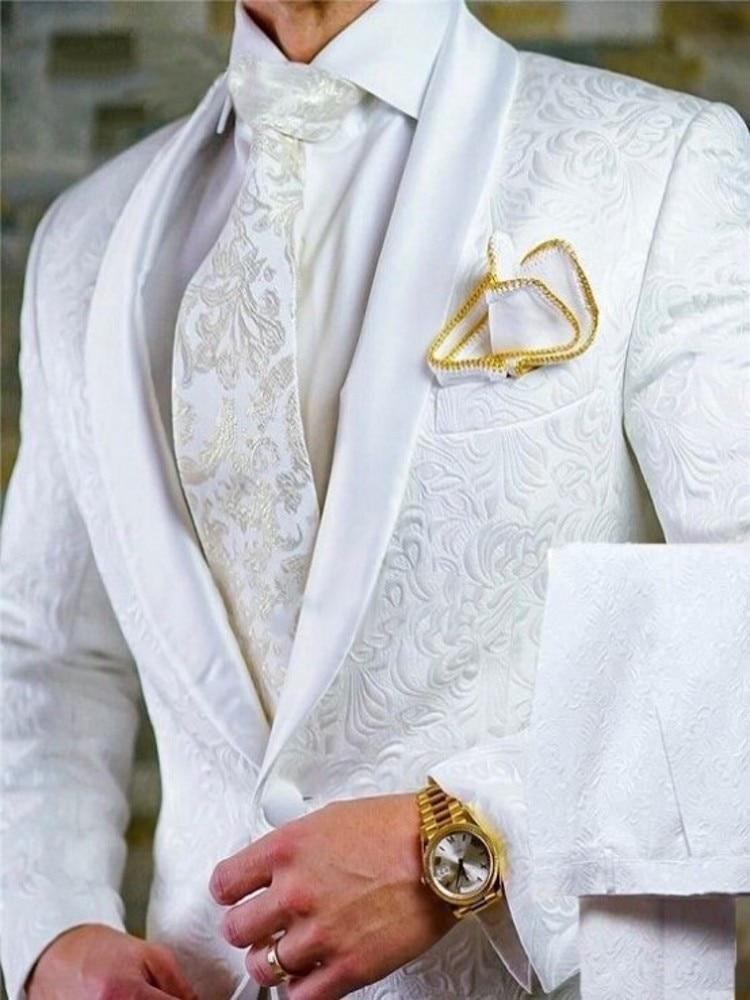 العريس الأبيض نمط العريس البدلات الرسمية شال الساتان التلبيب الرجال الدعاوى 2 قطع الزفاف العريس (سترة + السراويل + التعادل) D201