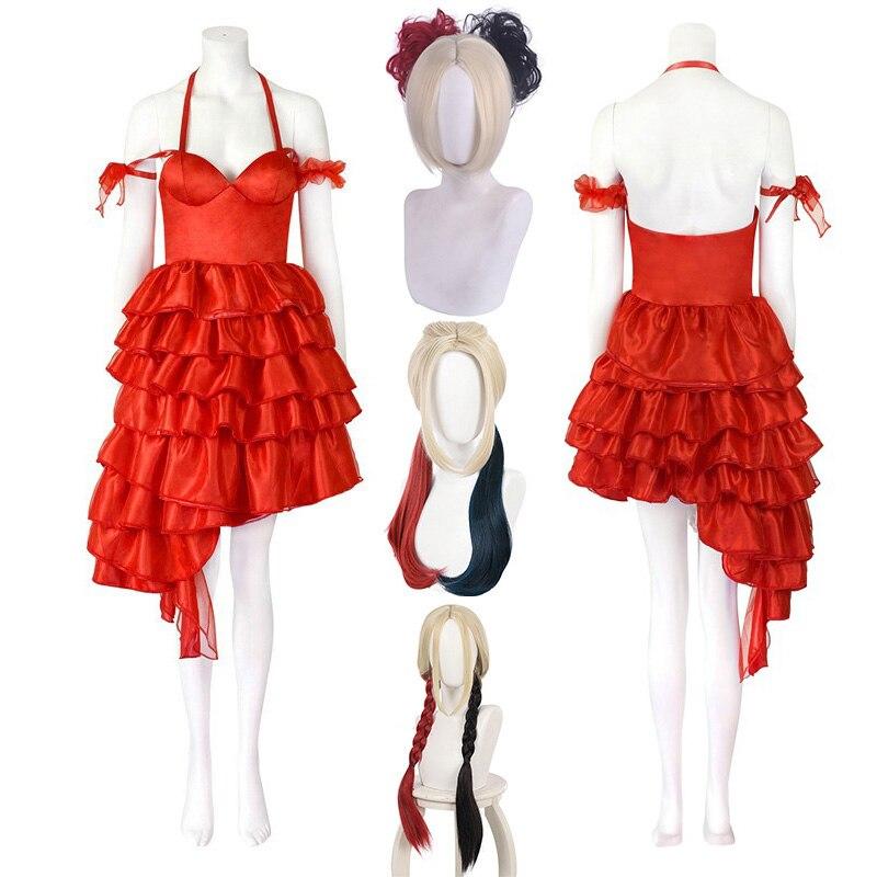 Women Suicide 2 Costumes Suicide Joker Red Dress Cosplay Girl Birds of Prey Clown Wig Double Color Ponytail Cos Props Halloween