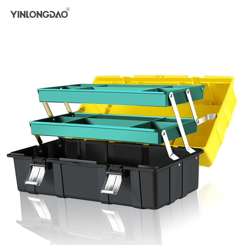 Three-layer Folding Toolbox Home Hardware Multi-function Portable Electrician Repair Tools Car Storage Box Large