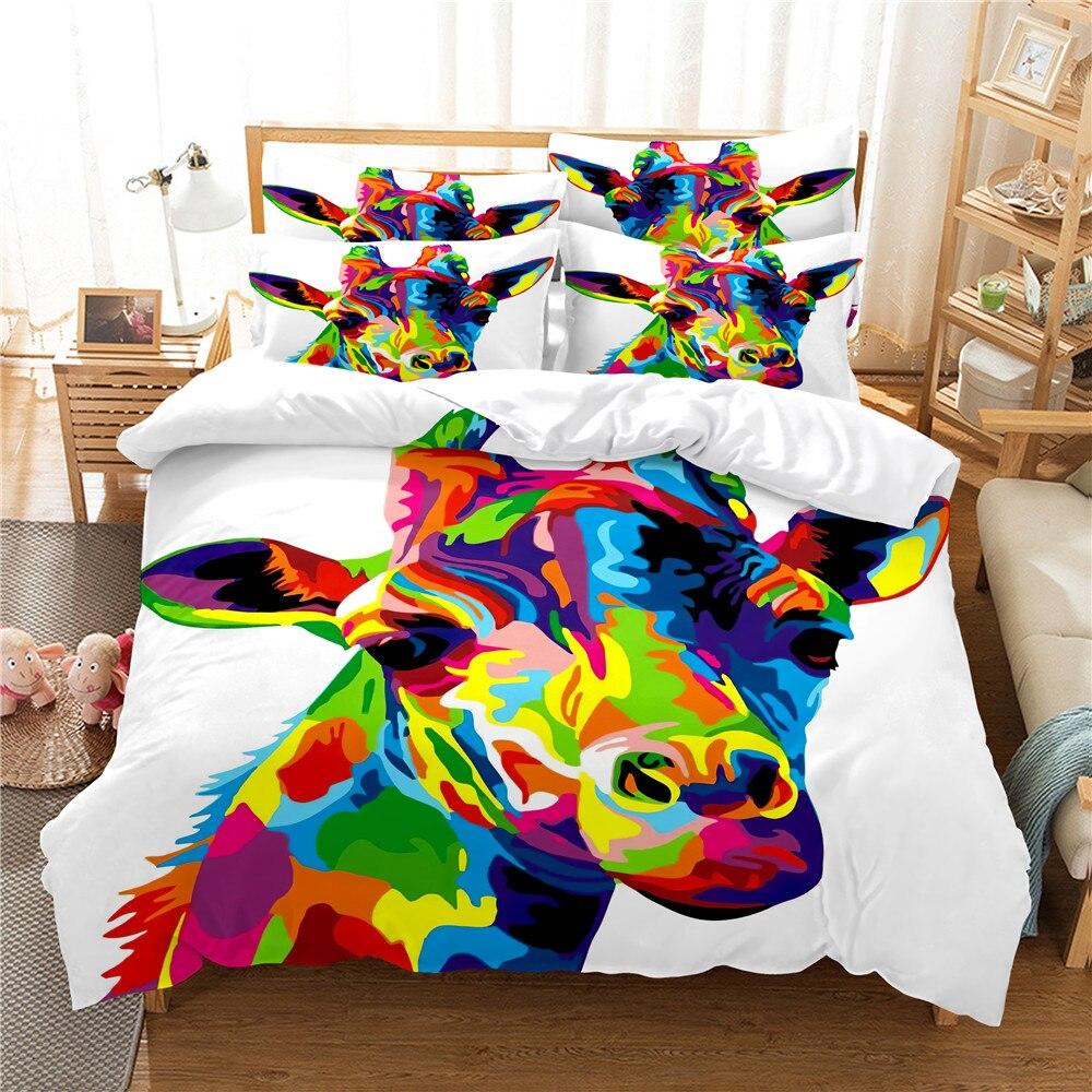 ثلاثية الأبعاد طقم سرير الزرافة الملكة غطاء لحاف مجموعة طقم سرير غطاء السرير القطن الملكة نوم طقم ملاءة سرير طقم سرير الفراش